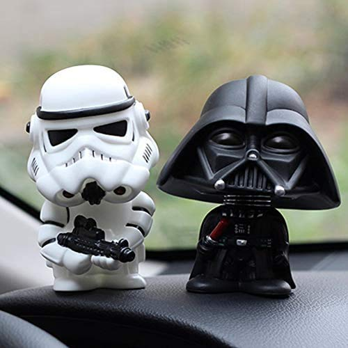 HAITAO 2 piezas Auto Ornamento Mini Negro Darth Vader Blanco Stormtrooper Modelo Star Wars Action Figure Muñeca Coche Interior Coche Decoración Regalo
