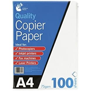 A4 75gsm Bright White Printer Copier Paper Office Home Copy Printing 100 Sheets - Comes with 5star Cloth