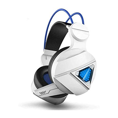 Gaming Gaming Headset, Casque stéréo Portable avec Caisson de Basses, Bruit Casque avec Microphone Cancelling, USB7.1 Canal (Color : White)