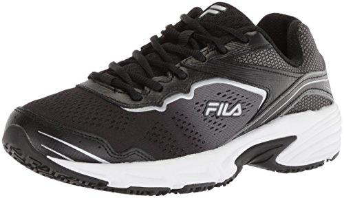 Fila womens Runtronic Slip Resistant Running Food Service Shoe, Black/Pewter/Metallic Silver, 6.5 US