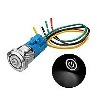 XueQing Pan 19ミリメートルメタル防水12 / 24V 5ピンのON-OFF押しボタンスイッチLED電源スイッチ (Color : White, Size : 24V)