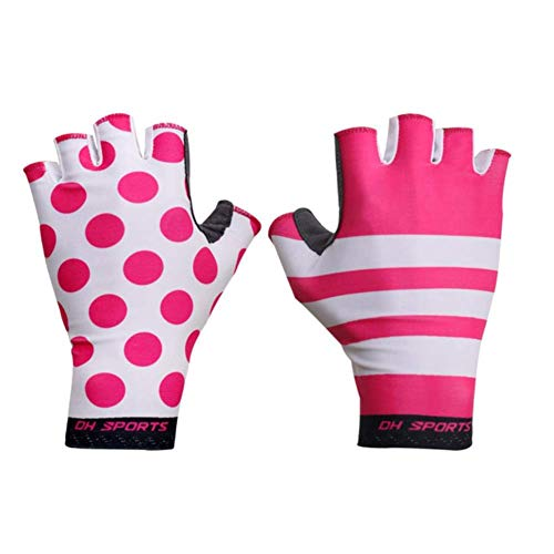 ZHTY Sunscreen Glove Cycling Gloves Half Finger Bike Gloves Shockproof Breathable Mountain Bicycle Glove Men Individuality Cycling Clothing SONG (Color : Pink Black, Size : XL)