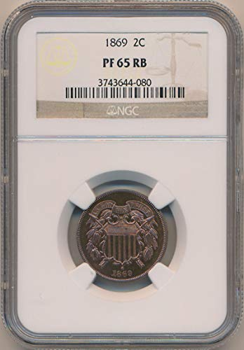 1869 P Two Cent Piece Two Cent PF65 RB NGC