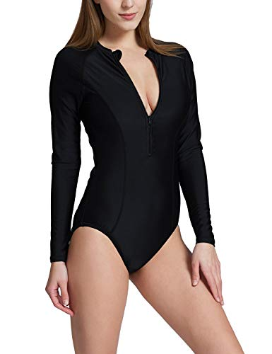 BALEAF Women's Long Sleeve One Piece Sun Protection Rash Guard Rashguard UPF 50+ Wetsuit Swimsuit Black L