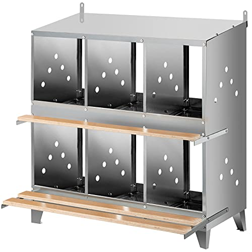 VEVOR 6 Hole Chicken Nesting Boxes, Poultry Nest Box Galvanized Steel, Hen Nesting Boxes for Laying Eggs with Inclined Roof, Metal Laying Coops with Polished Wooden Plank for Chicken Duck and Poultry
