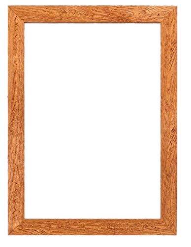 Fotolijst/posterlijst, hout, met MDF-achterwand, klaar om op te hangen, onbreekbaar, styreen-plaat, teakverf, A2