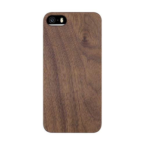 iATO iPhone 5/5s/SE 2016 Wood Case. Real Walnut iPhone 5/5s/SE Case Wood. Minimalistic Open Top & Bottom Classic Wood Case – Natural Wooden Overlay & Black Polycarbonate for 4' iPhone SE 2016 / 5s / 5
