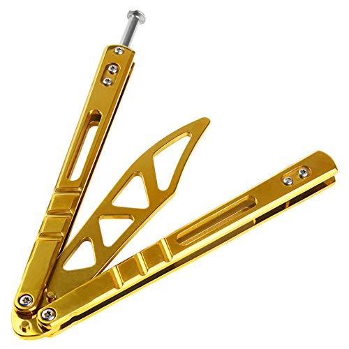 No/Brand Faltbares CS-Übung Butterfly Praxis Werkzeug Edelstahl mit Löchern Trainings Werkzeug aus Edelstahl, Stumpfe Klinge,Gold