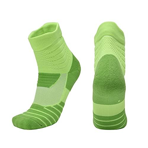 JXHYKJ Calcetines de Baloncesto procesamiento de Cabello Personalizado Hombres y Mujeres Calcetines Deportes Calcetines de la Toalla Medias en Blanco y Negro Verde (Color : Green, Size : EU 35-38)