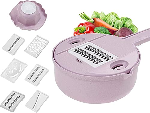 Vegetable Slicer Cutter Potato Peeler Carrot Onion Grater with Strainer Kitchen Utensil Gadget for Cooking Preparing-Pink