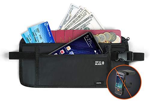 Eono by Amazon - Riñonera Viaje Interior para Viajar, Cinturón de Dinero de Seguridad Oculto RFID para Efectivo, Tarjetas, Llaves y Pasaporte con Correa elástica Ajustable