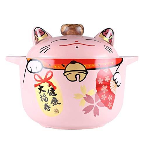 Cazuela de cerámica Japonesa con Tapa Maneki Neko, Olla Caliente Donabe, Cazuela Cubierta aislada, Olla, Olla Resistente al Calor, Cuenco para niños, Olla de Barro para arroz Maneki Neko 5.5l