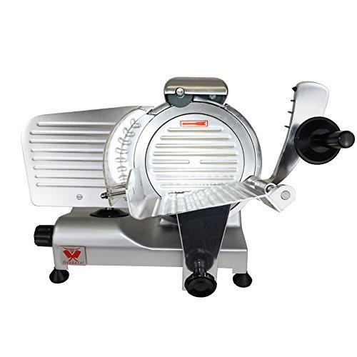 Beeketal \'Profi 220\' Aufschnittmaschine mit Ø 220 mm Spezialmesser (glatte Schneide), Schnittstärke 0-10 mm, Aluminium Schrägschneider mit Schnittguthalter, Schubhilfe und Schärfvorrichtung
