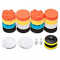 "Package Includes 16pcs 3"" Sponge Polishing Pads, 2pcs Woolen Buffer Pads, 2pcs Drill Adapter, 2pcs Suction Cup. Suitable: Used for all kinds of coat paints's waxing, polishing and sealing glaze, to clean and improve their lightness; And for auto car ..."
