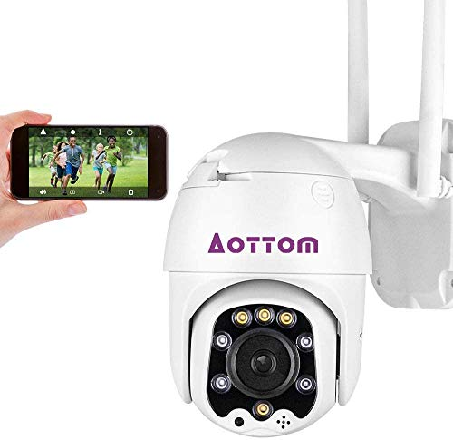 Aottom 1080P WiFi Camera, Security Camera Outdoor Indoor, PTZ IP Dome Camera for Home 2-Way Audio, Motion Detection, IP66 Waterproof, Support 128G SD Card (Without)