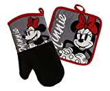 Best Brands Disney Kitchen Oven Mitt/Glove and Square Potholder Set w/Neoprene for Easy Non-Slip Gripping - Protect Your Hands in The Kitchen - Heat Resistant Kitchen Accessories - Minnie- Grey