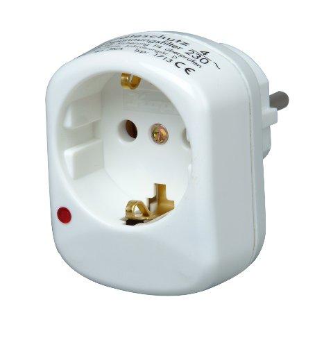 Kopp 171302011 Schutzkontakt-Zwischenstecker mit Überspannungsschutz, arktis weiß
