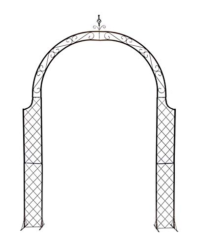 F-XW Arco de hierro para jardín, arco, arco, arco, de metal, duradero, para plantas, decoración de fiestas de novia, arcos de pérgola, 280 cm de alto x 200 cm de ancho