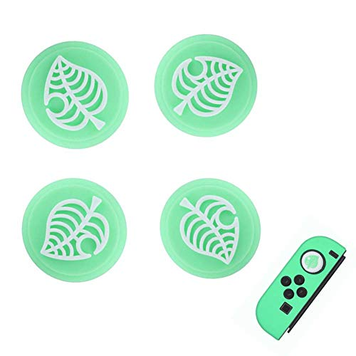 4 PCS Silicone Thumb Grip Caps for Nintendo Switch & Lite Joystick, Cute Joystick Cap Soft Silicone Cover for Joy-con NS Controller Accessories (White Leaves)
