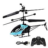 ALYHYB Mini helicóptero de Control Remoto de 2 Canales, helicópteros de Control Remoto para niños Recargables por USB, avión controlado por Radio de 2,4 GHz, Juguete de Vuelo Interior con luz (Bule)