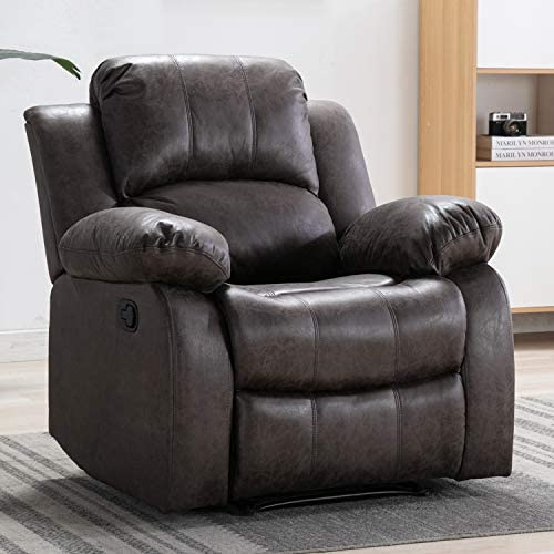 Best Bonzy Home Air Suede Recliner Chair Overstuffed Heavy Duty Recliner - Faux Suede Leather Home Theate