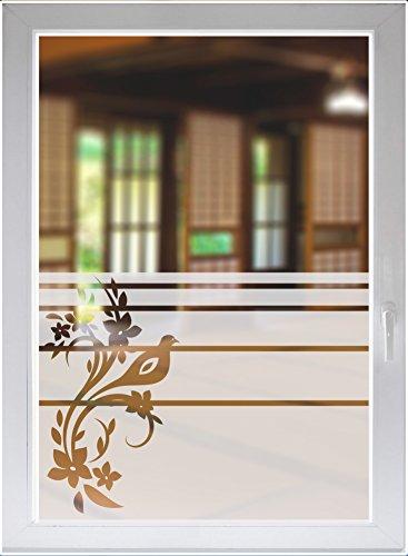 INDIGOS UG Fensterfolie Fensterbild Sichtschutzfolie Glasdekor Ornament satiniert Blickdicht ORACAL® - 500-2000 mm - Dekoration Sonnenschutz Folie