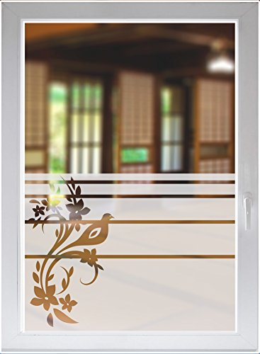 INDIGOS UG Glasdekor Fensterfolie Sichtschutzfolie Floral Fensterbild Ornament satiniert Blickdicht - 1200mm Breite x 500mm Höhe - auch mit Individueller Breite