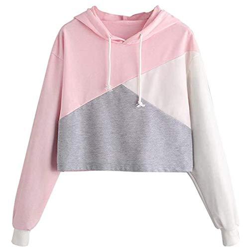 Damen Hoodie T-Shirts Patchwork Langarm Kapuzenpullover Sweatshirt für Teen Girls...