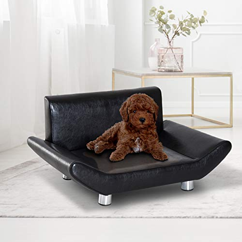 Pawhut Pet Sofa Chair Dog Cat Kitten Couch Bed Furniture Faux Leather Seater Black