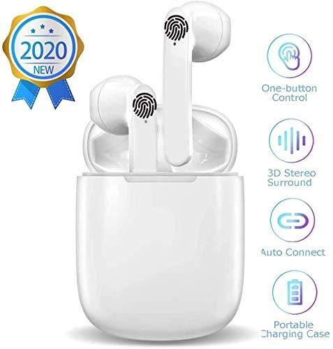 Auriculares inalámbricos Bluetooth 5.0, micrófono Incorporado y Caja de Carga,Cuffie Wireless Stereo 3D with IPX7 Impermeabile, adecuados para Auriculares IOS/Samsung/Huawei
