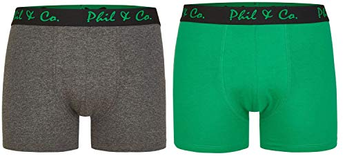 Phil & Co. Berlin 2er Pack Herren Jersey Boxershorts Boxer Trunk Short Pant Farbwahl, Grösse:XXL - 8-56, Farbe:Design 04