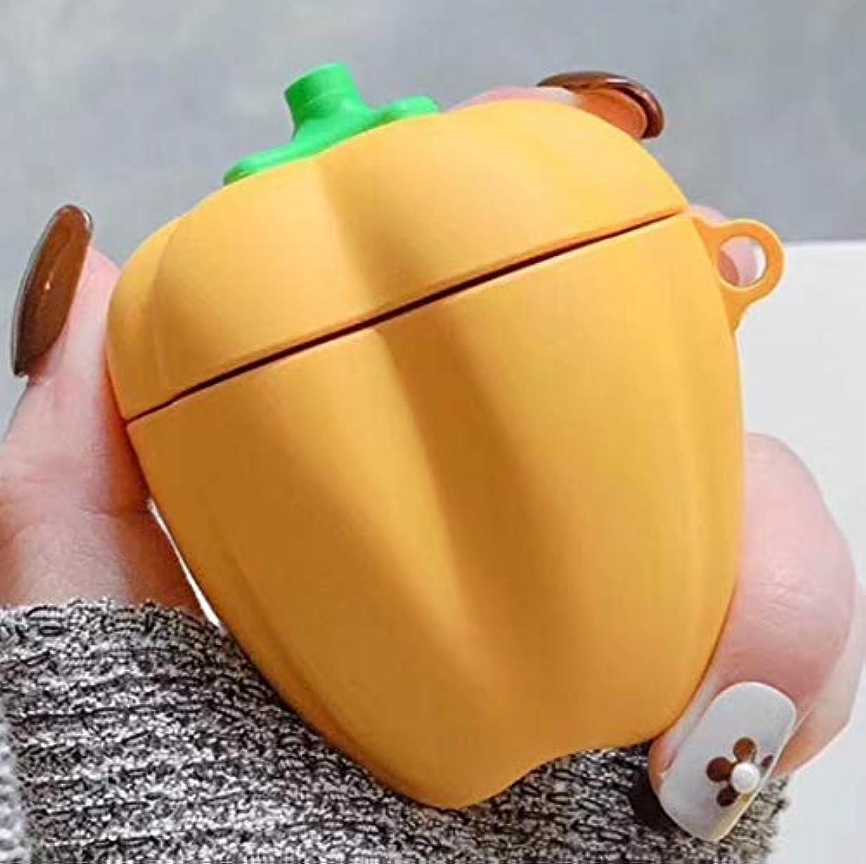 火傷ダーベビルのテス強制的Apple Airpodの保護スリーブケースカバースキン AirPods 1/2用のユニバーサルワイヤレスベルペッパーBluetoothヘッドフォンホルダー (色 : 黄)