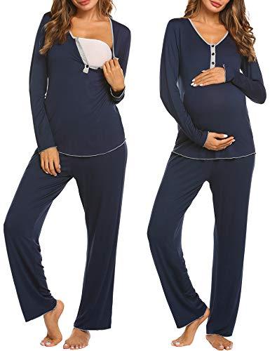 MAXMODA Damen Stillpyjama Pyjama Schwangere Umstandsmode umstandspyjama Baumwolle lang Navyblau S