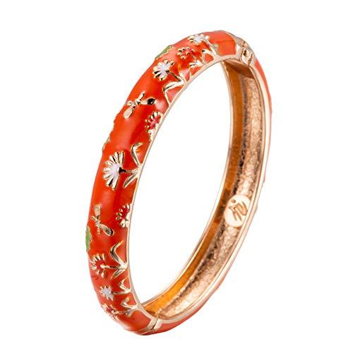 UJOY Damen Manschette Armbänder Armreif Living Coral Fashion Handgemachte Farbe des Jahres