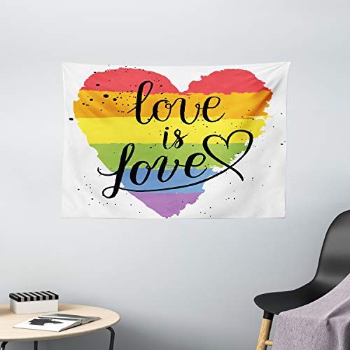 Ambesonne Pride Tapestry, LGBT Gay Lesbian Parade Love is Love Hand Writing Paint Strokes, Wide Wall Hanging for Bedroom Living Room Dorm, 60' X 40', Rainbow White