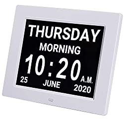 HUANUO Digital Calendar Alarm Day Clock - with 8 Large Screen Display, am pm, 5 Alarm, Dementia Clocks for Alzheimers Sufferers Elderly Seniors Memory Loss Impaired, for Desk, Wall Mounted(White)