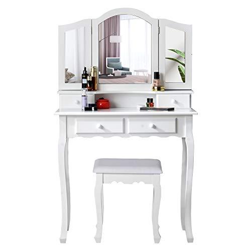 ModernLuxe Schminktisch mit 3 Spiegel und Hocker, weißer Frisiertisch Set mit 4 Schubladen, Kippsicherung Landhausstil Kosmetiktisch für Damen Mädchen, 80 x 40 x 134,5 cm