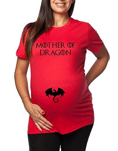 Tshirt Lunga da Donna Ideale per Il Premaman Mother of Dragon - Game of Thrones - Il Trono di Spade - Serie TV - Tshirt Simpatiche e Divertenti - Humor