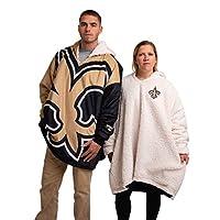 NFL New Orleans Saints Unisex Reversible Oversized Sherpa Hoodie Sweatshirt Colorblock HoodeezReversible Oversized Sherpa Hoodie Sweatshirt Colorblock Hoodeez, Colorblock, One Size (HDONFSMURBUSQVC)