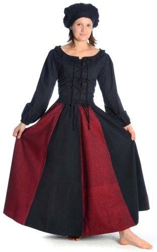 Hemad Falda Medieval de algodón para Mujer – XXL/XXXL Negro & Rojo