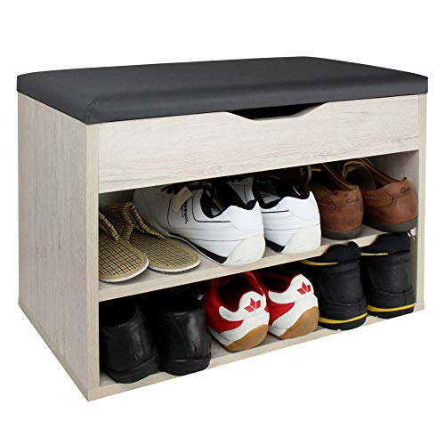 RICOO WM032-EP-A Banco Zapatero 60x42x30cm Armario Interior con Asiento Organizador Zapatos Mueble recibidor Perchero Madera Roble marrón Claro