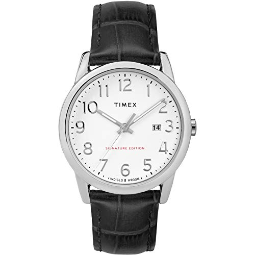 Timex Men's TW2R64900 Easy Reader Signature 38mm Black/White Leather Strap Watch