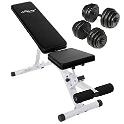 Physionics Weight Bench With Ergonomic Dumbbell Set 30 Kg (2 X Approx. 15 Kg) Incl. Weight plates - approx. 130 x 41 x 127 cm