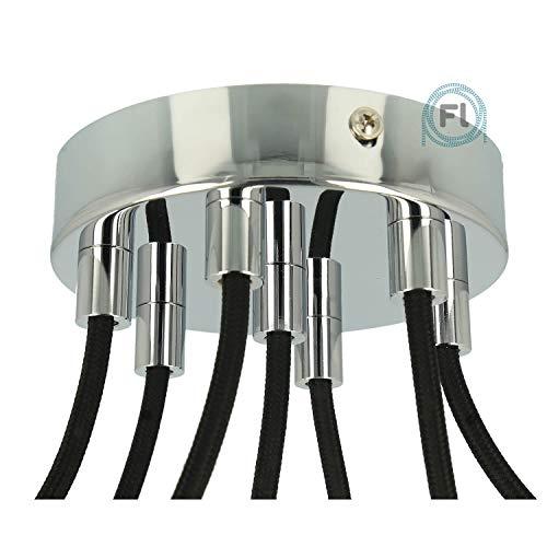 Flairlux All-in-One Baldachin für Lampe 7 Loch Metall chrom rund 120x25mm inkl Wago Klemmen, Klemmnippel zylindrisch