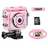 MYPIN Mini Kids Camera, Waterproof Digital Action Camera for Children 3-13 Years Old, Rechargeable Camcorder with 32GB SD Card(Pink)