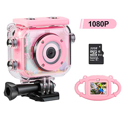 Kids Camera for Girls, Underwater Camera for Kids 3-13 Years Old - Rechargeable Camera for Kids Girls with 32GB SD Card and Anti-Fall Silicone Case (Pink)
