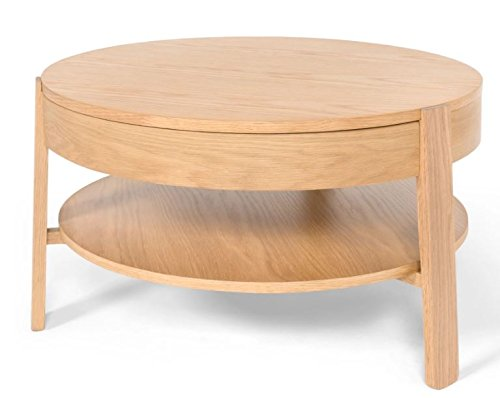 Contemporary Round Storage Coffee Table in Light Oak – Perfect Coffee Tables For Any Hallway, Living Rooms, Dining Room, Conservatory and Bedroom featuring One Drawer and Shelf