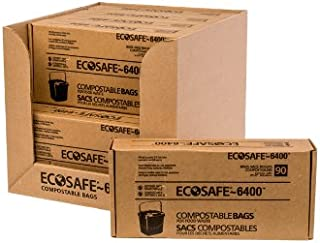 EcoSafe-6400 CP1617-6 Compostable Bag, Certified Compostable, 2.5-Gallon, Green (Pack of 90)