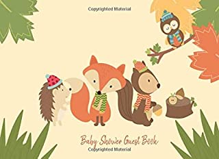 Baby Shower Guest Book: Woodland Animals Forest Friends, Welcome Baby Sign in for Boy, Girl, Twins (Gender Neutral) and Gift Log Recorder
