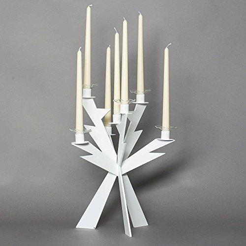 Arti e Mestieri Candelabro da tavolo in metallo Zeus Bianco